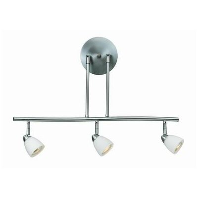 """Serpentine 3 Light Track Light Size: 5.5"""" H x 11"""" W x 11"""" D, Finish: Brushed Steel, Shade Color: White"""