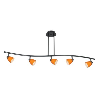 Serpentine Five Light Track Light with Brown Spot Glass in Dark Bronze