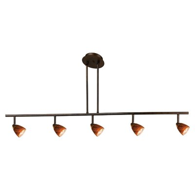 Serpentine Five Light Track Light with Brown Spot Glass in Rust