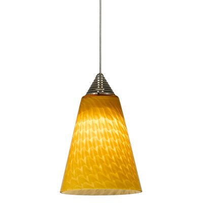 Wilmington 1-Light Mini Pendant Base Finish: Brushed Steel, Cord Length: 18
