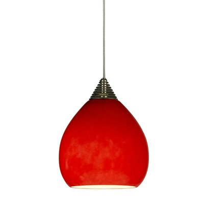 Wilbraham 1-Light Mini Pendant Base Finish: Brushed Steel, Cord Length: 10