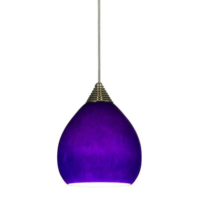 Williamsburg 1-Light Mini Pendant Base Finish: Brushed Steel, Cord Length: 18'
