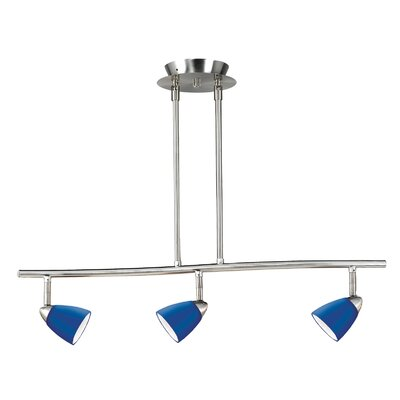 Serpentine 3 Light Track Light with Glass Shade Color: Blue