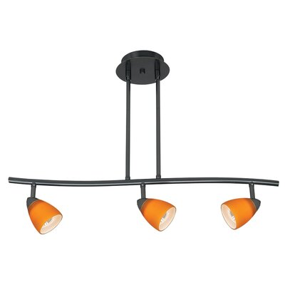 Serpentine 3 Light Track Light with Swirl Glass Shade Color: Amber