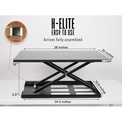 16 H x 28 W Standing Desk Conversion Unit Finish: Black
