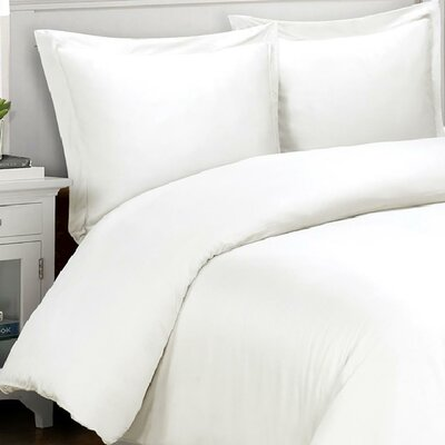 3 Piece Duvet Cover Set Color: White, Size: King