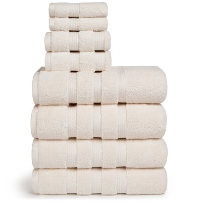 Infinity Zero Twist Cotton 8 Piece Towel Set Color: Off White