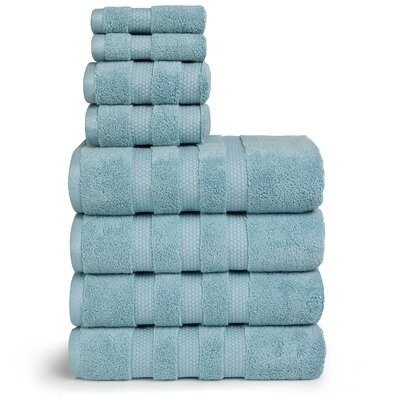 Infinity Zero Twist Cotton 8 Piece Towel Set Color: Sea Glass