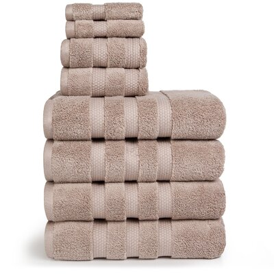 Infinity Zero Twist Cotton 8 Piece Towel Set Color: Linen Taupe