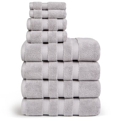 Infinity Zero Twist Cotton 8 Piece Towel Set Color: Silver Gray