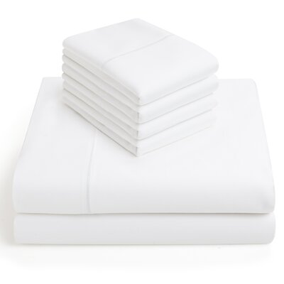 6 Piece 1000 Thread Count Sheet Set Size: King, Color: White