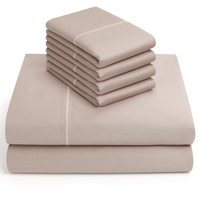 6 Piece 1000 Thread Count Sheet Set Color: Taupe, Size: Queen