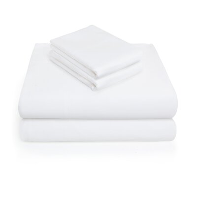 300 Thread Count 100% Cotton 4 Piece Sheet Set Color: White, Size: King