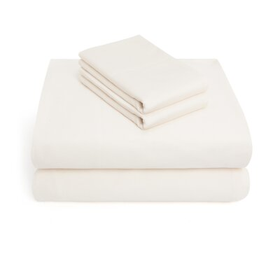300 Thread Count 100% Cotton 4 Piece Sheet Set Color: Ivory, Size: Queen