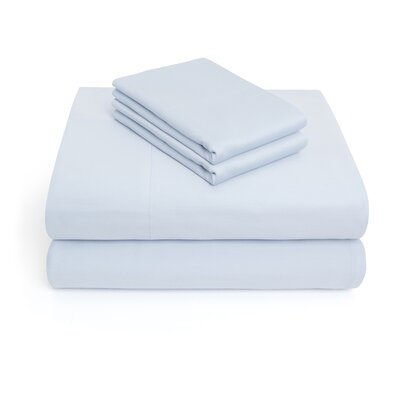 300 Thread Count 100% Cotton 4 Piece Sheet Set Color: Sky Blue, Size: Full