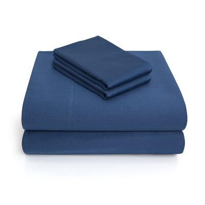 300 Thread Count 100% Cotton 4 Piece Sheet Set Color: Navy, Size: Queen