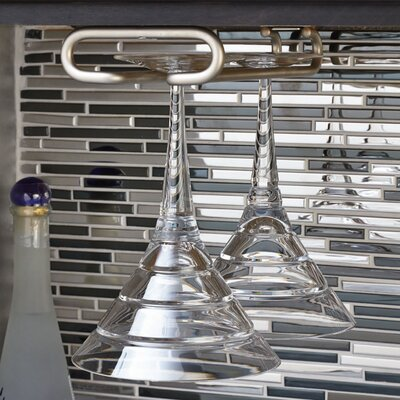 Modern Hanging Metal Wine Glass Rack Finish: Satin Nickel