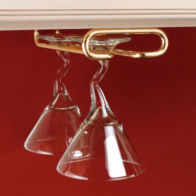 Modern Hanging Metal Wine Glass Rack Finish: Brass