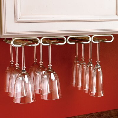 Modern Hanging Wine Glass Rack Finish: Satin Nickel