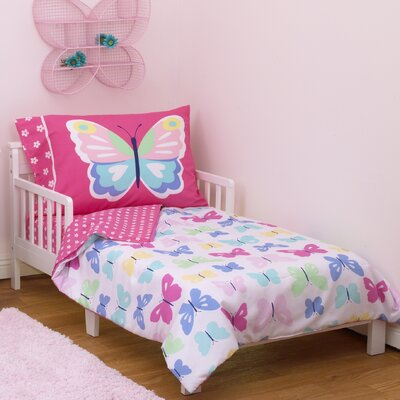 Butterflies 4 Piece Toddler Bedding Set 3414416