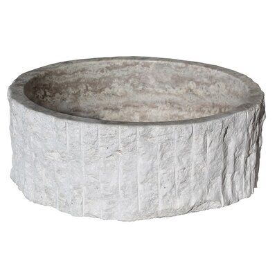 Chiseled Cylindrical Natural Stone Circular Vessel Bathroom Sink Sink Finish: Antico