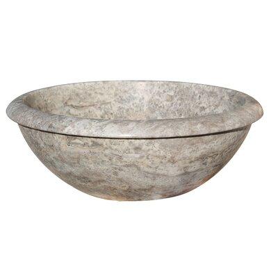 Rim Top Natural Stone Circular Vessel Bathroom Sink Sink Finish: Antico
