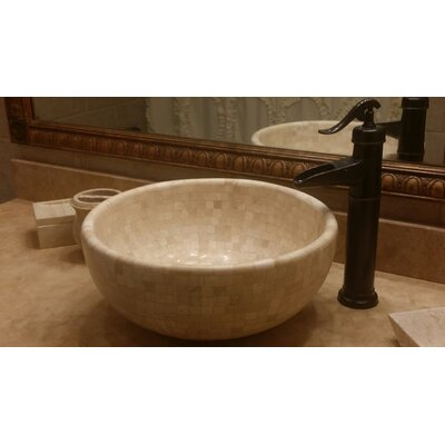 Mosaic Stone Circular Vessel Bathroom Sink Sink Finish: Light
