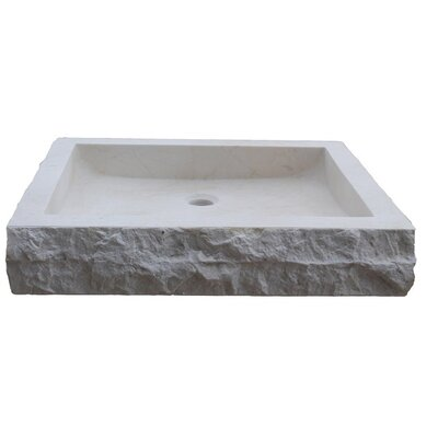 Chiseled Rectangular Natural Stone Circular Vessel Bathroom Sink Sink Finish: Beige