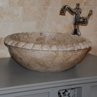 Rope Natural Stone Circular Vessel Bathroom Sink Sink Finish: Afyon Noce