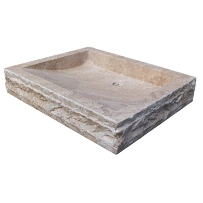 Chiseled Rectangular Natural Stone Circular Vessel Bathroom Sink Sink Finish: Afyon Noce