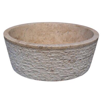 Brushed Natural Stone Circular Vessel Bathroom Sink Sink Finish: Afyon Noce
