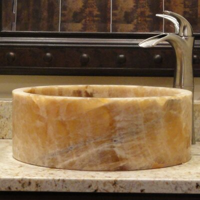 Cylindrical Natural Stone Circular Vessel Bathroom Sink