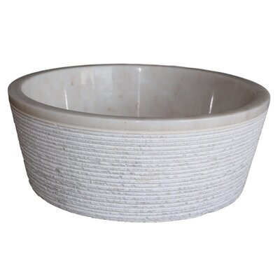 Brushed Natural Stone Circular Vessel Bathroom Sink Sink Finish: Mixed White Marble