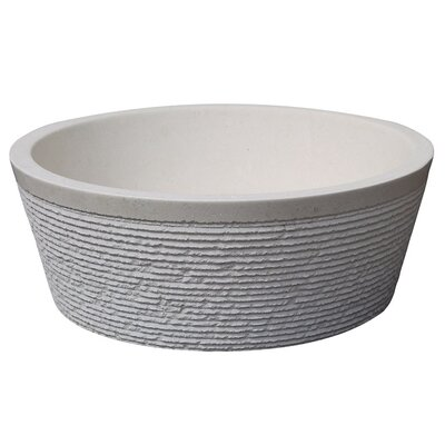 Brushed Natural Stone Circular Vessel Bathroom Sink Sink Finish: Limestone