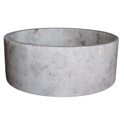 Cylindrical Natural Stone Circular Vessel Bathroom Sink Sink Finish: Mixed White Marble