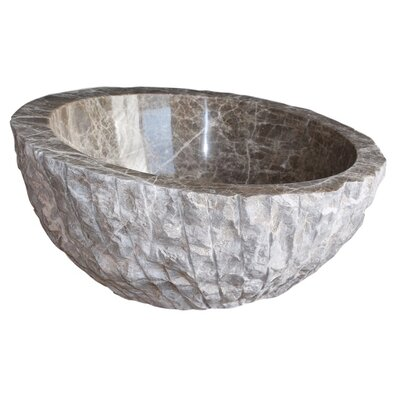 Angled Chiseled Stone Circular Vessel Bathroom Sink