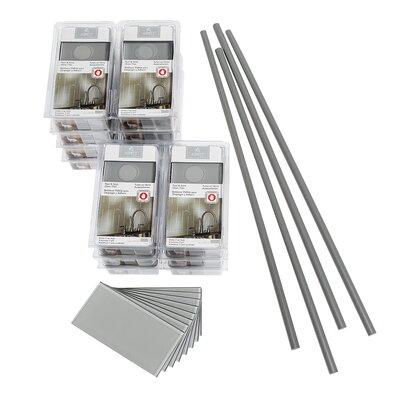 "Aspect Steel 3"" x 6"" Glass Peel & Stick Subway Tile Kit in Gray"
