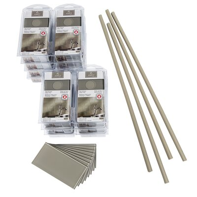 "Aspect 3"" x 6"" Glass Peel & Stick Subway Tile Kit in Putty"