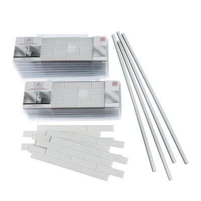 "Aspect 4"" x 12"" Glass Peel & Stick Subway Tile Kit in Frost"
