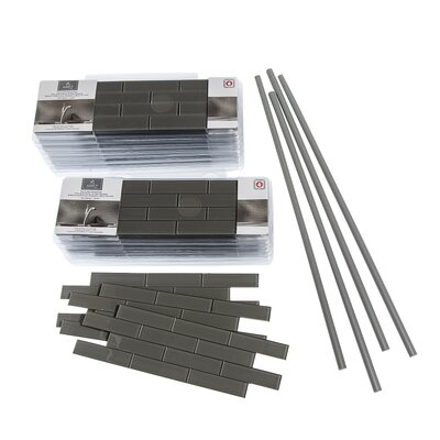 "Aspect 4"" x 12"" Glass Peel & Stick Subway Tile Kit in Leather"