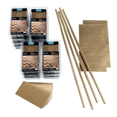 "Aspect Short Grain 3"" x 6"" Metal Peel & Stick Subway Tile Kit in Brushed Champagne"