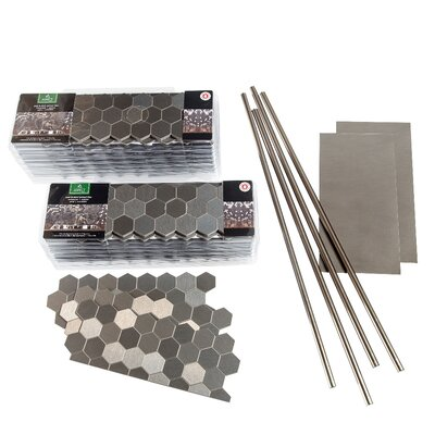 "Aspect 4"" x 12"" Metal Peel & Stick Field Tile Kit in Brushed Stainless"