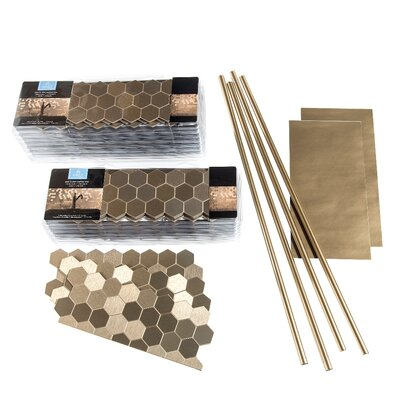 "Aspect 4"" x 12"" Metal Peel & Stick Field Tile Kit in Brushed Champagne"