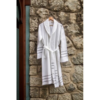 Burns Bath Robe Color: White/Gray