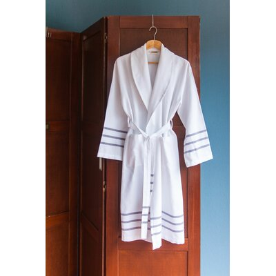 Classic Bath Robe Color: White/Navy