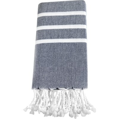 Burns Hand Towel Color: Navy / White