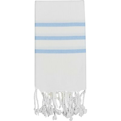 Burns Hand Towel Color: White / Baby Blue