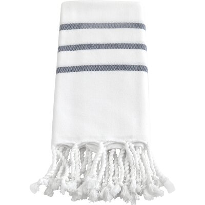 Burns Hand Towel Color: White / Navy