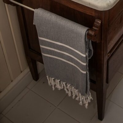 Burns Striped Bath Towel Color: Navy