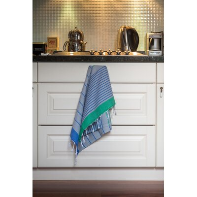 Knidos Hand Towel Color: Gray Base with Royal Blue and Green Stripes